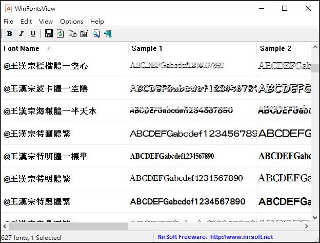 檢視所有安裝字型1
