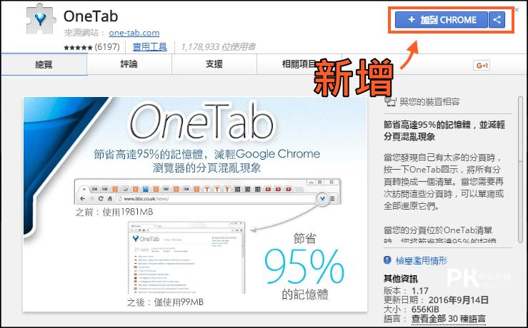 OneTab分頁管理器1