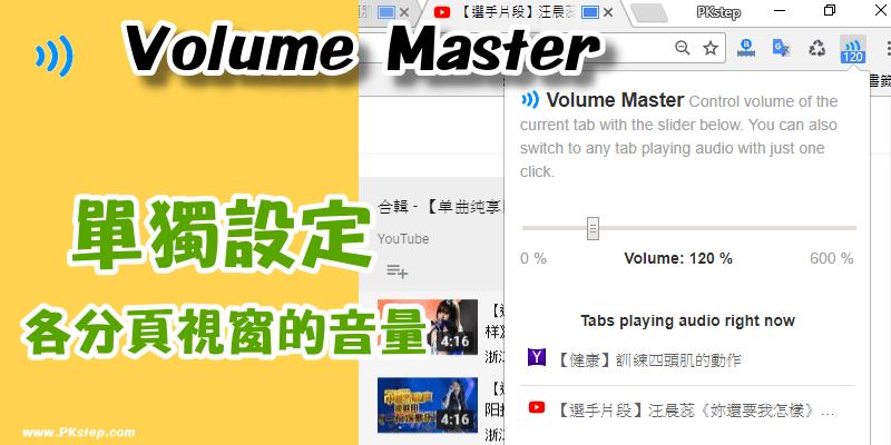 Volume Master單獨設定瀏覽器各Tab頁籤視窗的音量大小聲。(Chrome擴充外掛)