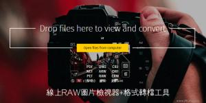 線上RAW照片檢視器+圖片轉檔,能修圖、調整影像、亮度與飽和度等。
